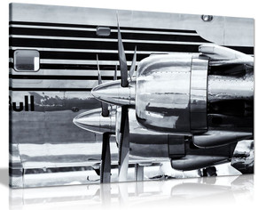 Black & White Douglas Dc-6 Vintage Airplane Canvas Wall Art Picture Print