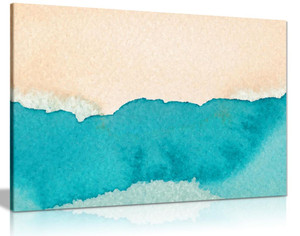 Abstract Beach Watercolour Canvas Wall Art Picture Print