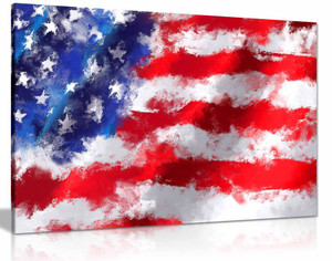 Canvas Prints Wall Art - Closeup of American Flag Modern Watercolour Style Patriotic Concept Modern Wall Decor Canvas Wall Art Picture Print Home Decor