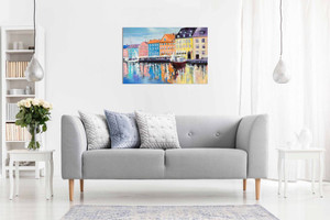 Copenhagen Boats on Water Painting Canvas Wall Art Picture Print Home Decor