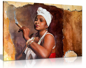 Cuban Woman with Cigar Brown Canvas Wall Art Picture Print Home Decor