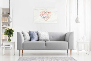 Geometric Pink Heart Canvas Wall Art Picture Print Home Decor