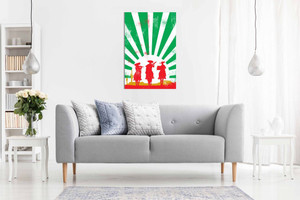 Mexican Art Cowboys Green Red White Canvas Wall Art Picture Print Home Decor