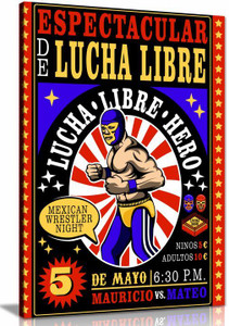 Mexican Art Lucha Libre Canvas Wall Art Picture Print Home Decor