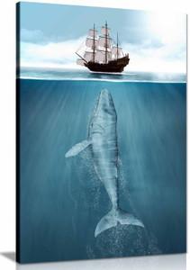 Whale & Ship Maritime Bathroom Canvas Wall Art Picture Print Home Decor