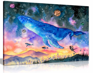 Whale Diving into Space Water Colour Fantasy Kids Canvas Wall Art Picture Print Home Decor