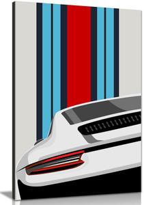 White Porsche Pop Art Abstract Garage Quote Canvas Wall Art Picture Print Home  Decor