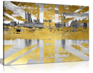 Union Jack London Gold Abstract Canvas Wall Art Picture Print Home Decor