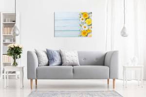 Rustic Yellow Garden Flowers Over Blue Wooden Table Canvas