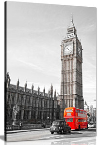 Big Ben London Bus Black White Red Home Canvas