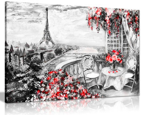 Abstract Floral Summer Cafe Paris Black & White Red Canvas