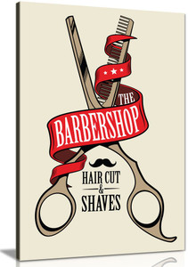 Barber Shop Decor Scissors Canvas