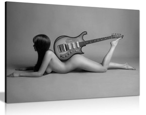 Sexy Woman With Guitar Naked Nude Canvas