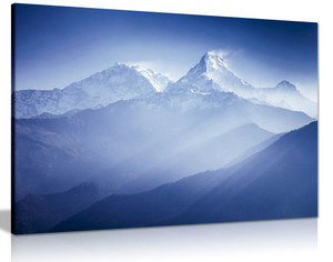 Blue Wall Art Annapurna Mountains Landscape Canvas