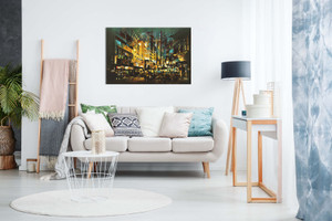 Abstract Painting Night Scene Canvas