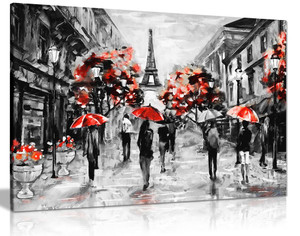 Modern Contemporary Black White Red Paris Eiffel Tower Canvas