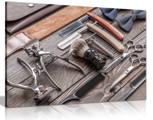 Barber Shop Art Vintage Hair Tools Canvas