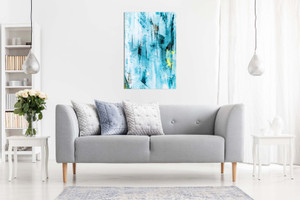 Abstract Modern Contemporary Teal Wall Art Canvas
