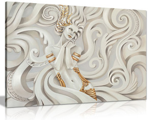 Cream Abstract Fantasy Woman With Gold Hair Canvas