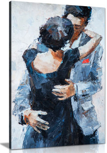 Romantic Embrace Couple Kissing Wall Painting Canvas