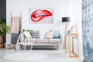 Sexing Erotic Biting Red Lips Canvas