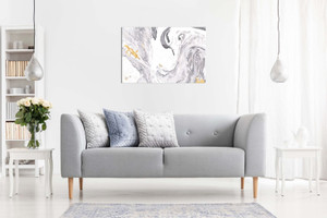 Abstract Modern Grey Yellow White Paint Swirls Canvas