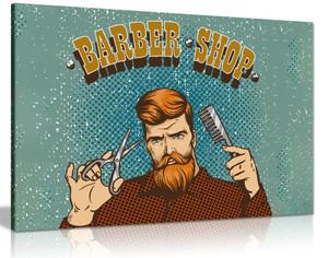 Hipster Barber Shop Sign Canvas