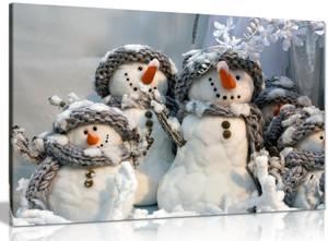 Family Of Snowmen Christmas Winter Canvas