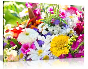 Summer Flowers Floral Bouquet Canvas