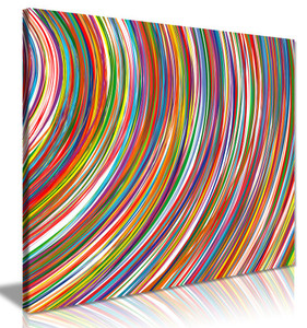 Abstract Modern Contemporary Rainbow Curved Stripes Canvas