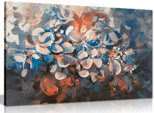Abstract Flowers With Vintage Colours Canvas
