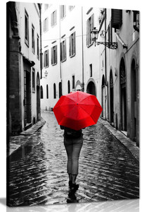 Woman With Red Umbrella Black & White Canvas