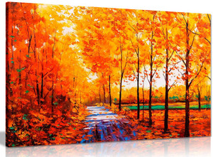 Autumn Trees Orange Landscape Canvas