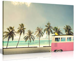 Campervan On Beach With A Surfboard Canvas