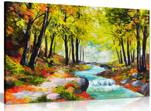 Landscape Oil Painting River In Autumn Forest Reproduction Canvas
