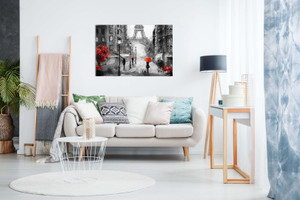 Black White Red Oil Painting Paris Eiffel Tower Street View Canvas