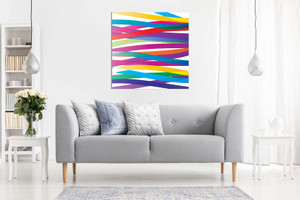 Abstract Modern Art Vivid Colourful Ribbons Canvas