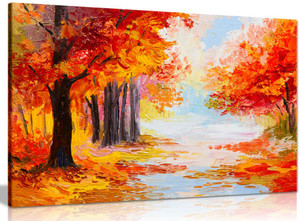 Oil Painting Landscape Colorful Autumn Forest Abstract Canvas