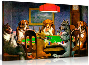 Pokers Dogs Playing Cards C. M. Coolidge Canvas