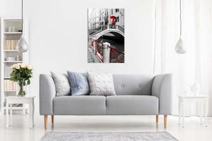 Black & White Red Painting Venice Romantic Canvas