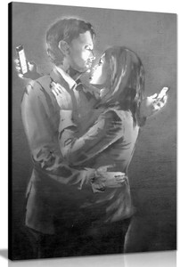 Banksy Mobile Phone Lovers Black & White Canvas