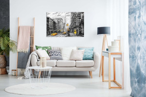 Black White Yellow New York City Oil Painting Canvas