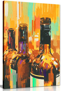 Kitchen Wall Art Painting Modern Abstract Contemporary Wine Bottles Canvas Picture Print