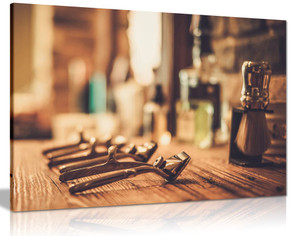Barber Shop Decor Shaving Accessories Canvas