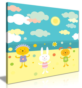 Cute Animals On Beach Kids Childrens Bedroom Nursery Canvas