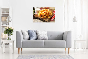 Chips French Fries On Wooden Board Canvas