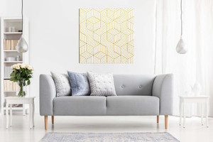 Abstract Geometric Gold Cubes Canvas