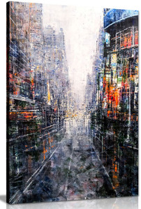 Abstract Modern Painting Cityscape Canvas