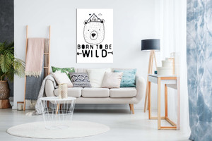 Born To Be Wild Bear Kids Childrens Bedroom Canvas