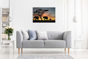 Elephants In The Sunset Africa Landscape Canvas